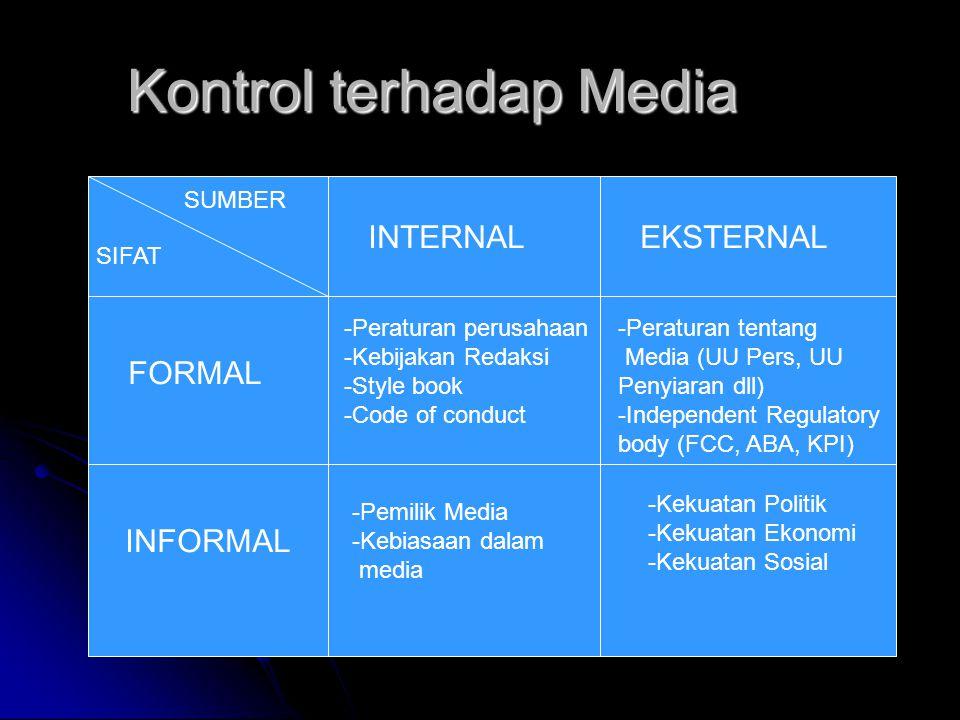 Kontrol terhadap Media SUMBER SIFAT INTERNALEKSTERNAL FORMAL INFORMAL -Peraturan perusahaan -Kebijakan Redaksi -Style book -Code of conduct -Peraturan