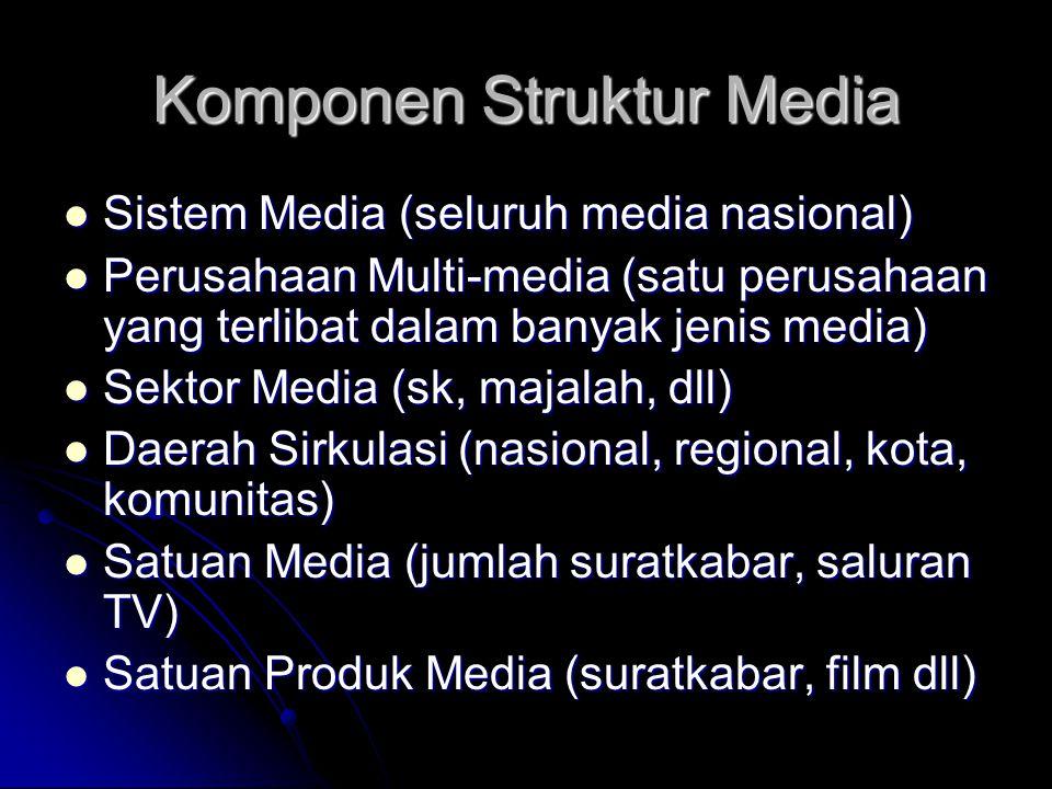 Komponen Struktur Media Sistem Media (seluruh media nasional) Sistem Media (seluruh media nasional) Perusahaan Multi-media (satu perusahaan yang terli