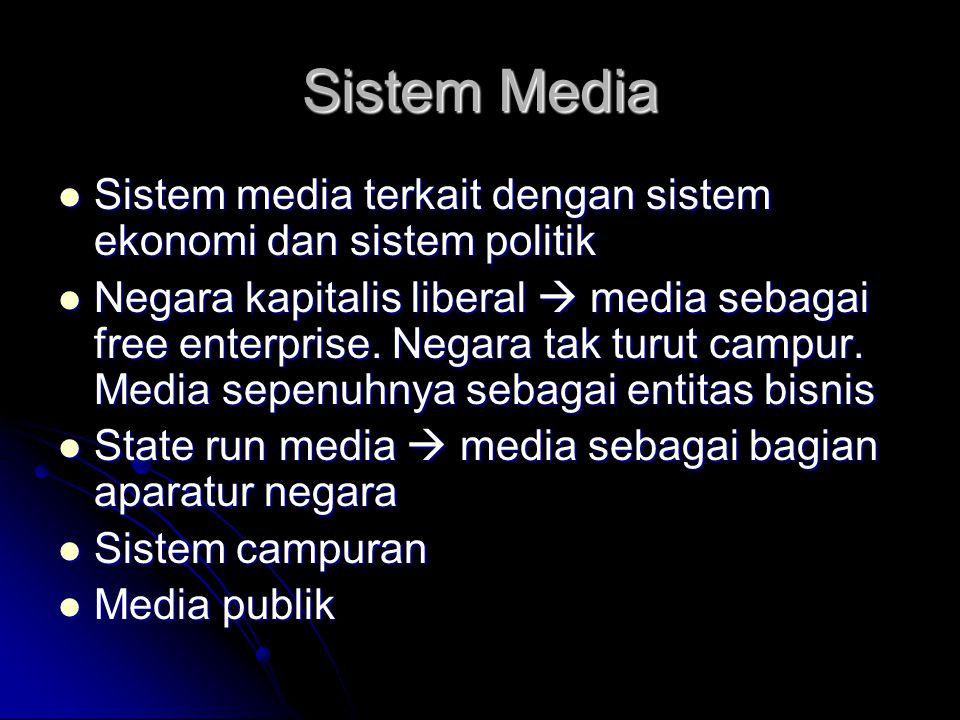 Sistem Media Sistem media terkait dengan sistem ekonomi dan sistem politik Sistem media terkait dengan sistem ekonomi dan sistem politik Negara kapitalis liberal  media sebagai free enterprise.