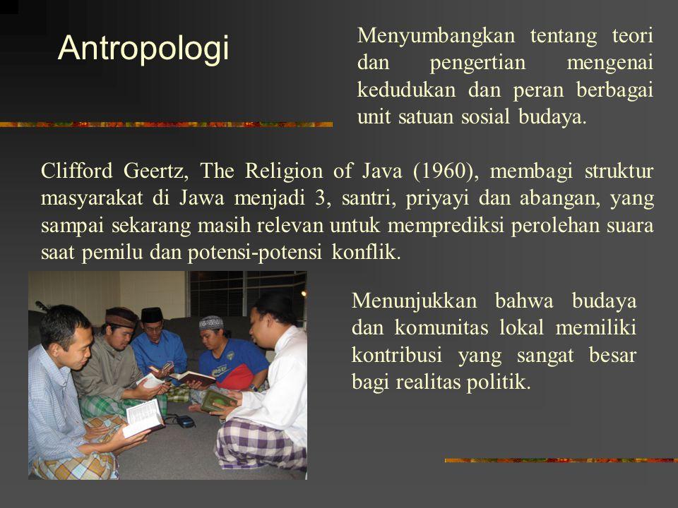 Antropologi Menyumbangkan tentang teori dan pengertian mengenai kedudukan dan peran berbagai unit satuan sosial budaya. Clifford Geertz, The Religion