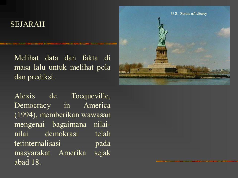 SEJARAH U.S.: Statue of Liberty Melihat data dan fakta di masa lalu untuk melihat pola dan prediksi. Alexis de Tocqueville, Democracy in America (1994