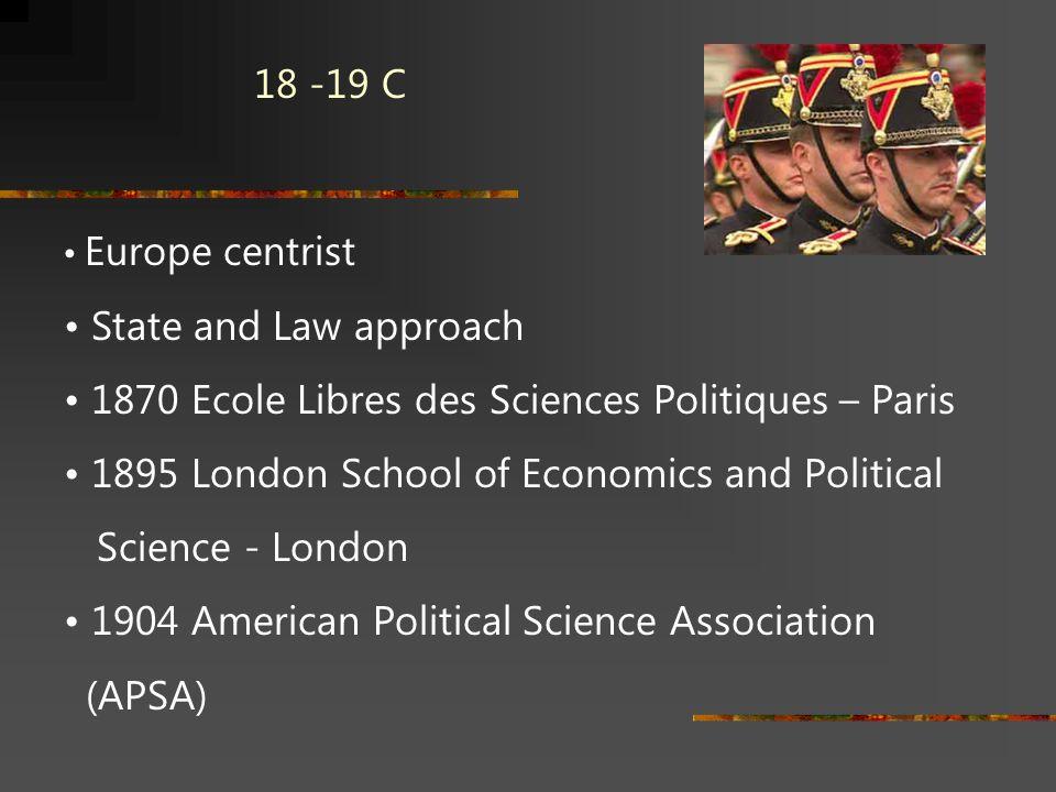 18 -19 C Europe centrist State and Law approach 1870 Ecole Libres des Sciences Politiques – Paris 1895 London School of Economics and Political Scienc