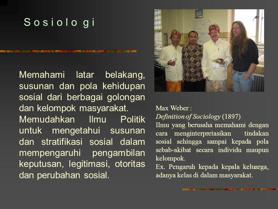 S o s i o l o g i Memahami latar belakang, susunan dan pola kehidupan sosial dari berbagai golongan dan kelompok masyarakat. Memudahkan Ilmu Politik u