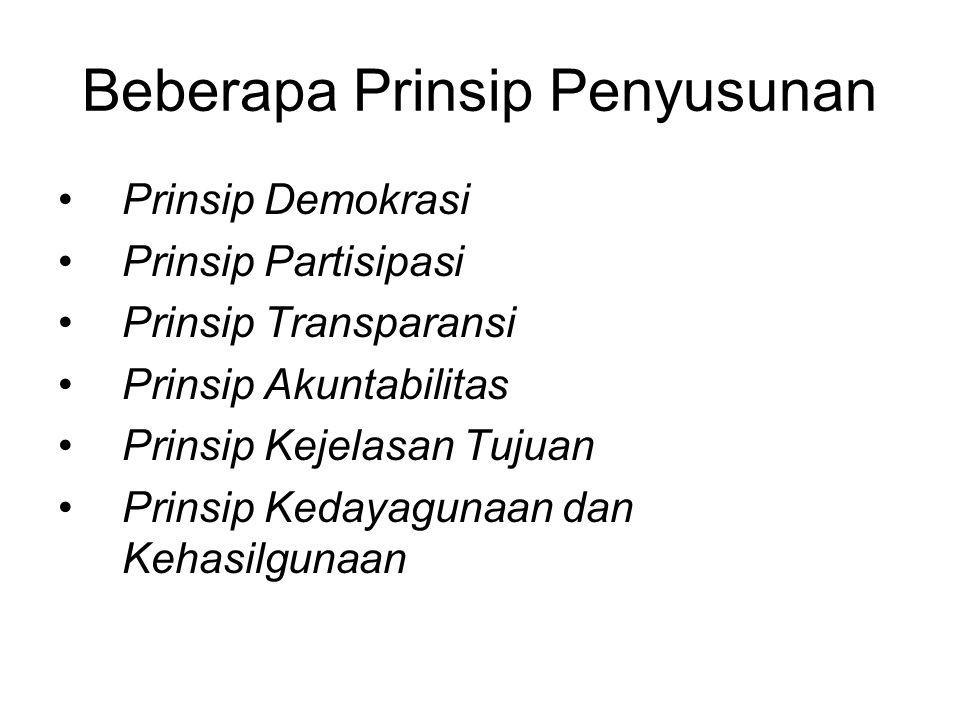 Beberapa Prinsip Penyusunan Prinsip Demokrasi Prinsip Partisipasi Prinsip Transparansi Prinsip Akuntabilitas Prinsip Kejelasan Tujuan Prinsip Kedayagu
