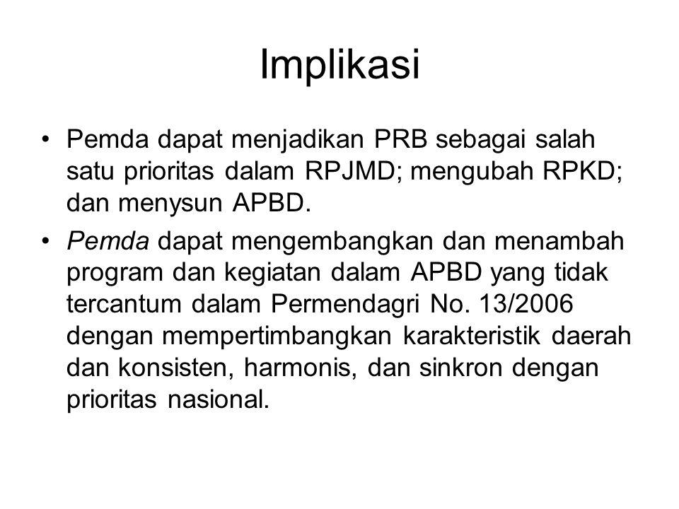 Implikasi Pemda dapat menjadikan PRB sebagai salah satu prioritas dalam RPJMD; mengubah RPKD; dan menysun APBD. Pemda dapat mengembangkan dan menambah