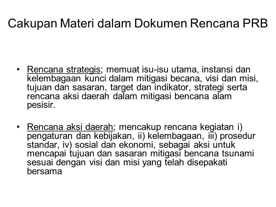 Cakupan Materi dalam Dokumen Rencana PRB Rencana strategis; memuat isu-isu utama, instansi dan kelembagaan kunci dalam mitigasi becana, visi dan misi,