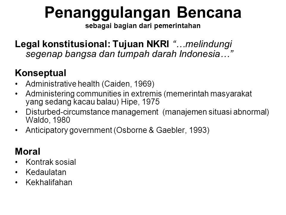 """Penanggulangan Bencana sebagai bagian dari pemerintahan Legal konstitusional: Tujuan NKRI """"…melindungi segenap bangsa dan tumpah darah Indonesia…"""" Kon"""