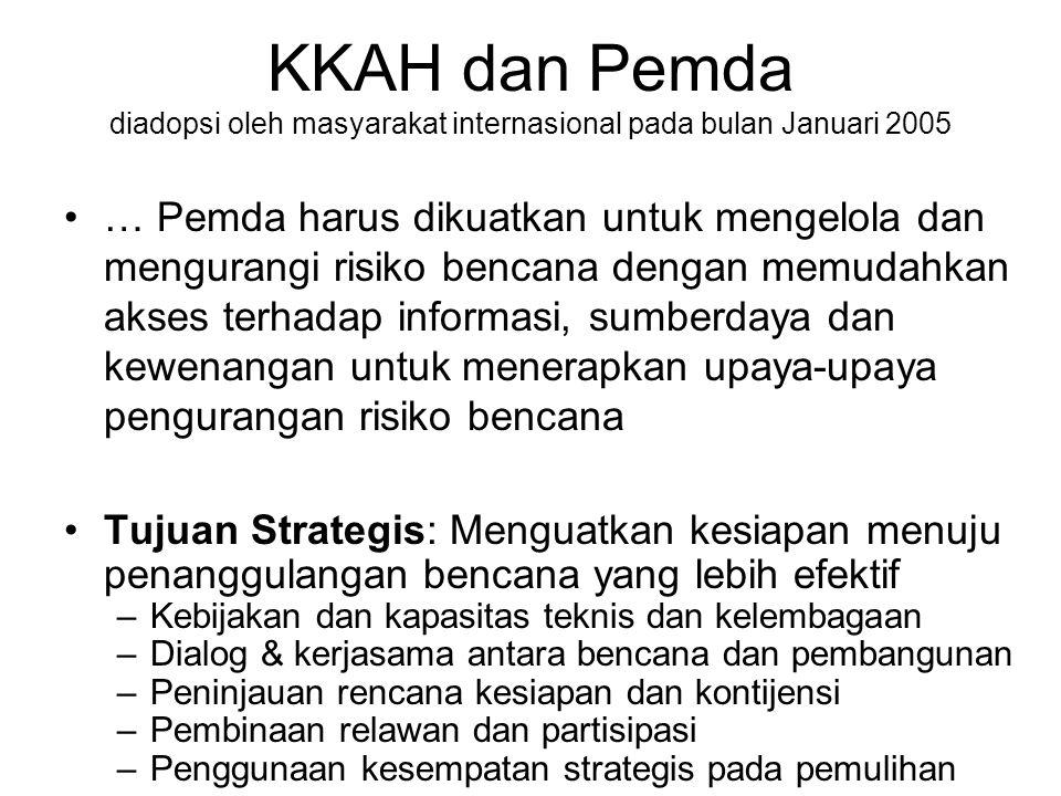 KKAH dan Pemda diadopsi oleh masyarakat internasional pada bulan Januari 2005 … Pemda harus dikuatkan untuk mengelola dan mengurangi risiko bencana de