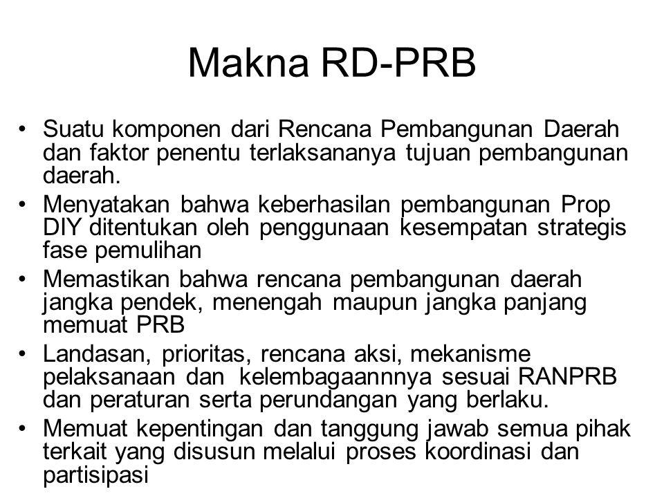 Makna RD-PRB Suatu komponen dari Rencana Pembangunan Daerah dan faktor penentu terlaksananya tujuan pembangunan daerah. Menyatakan bahwa keberhasilan