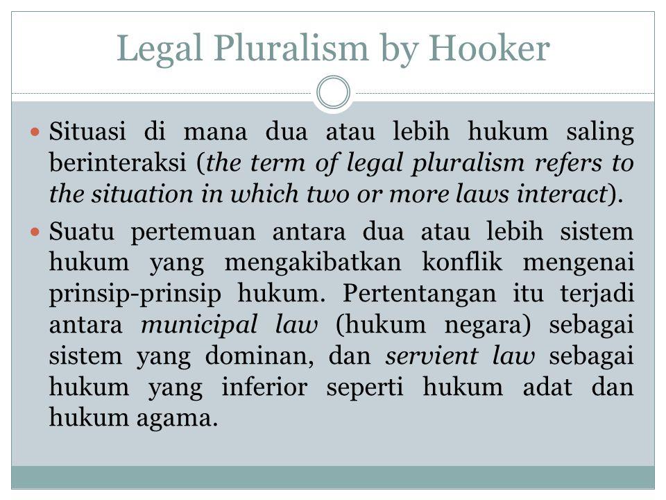 Legal Pluralism by Hooker Situasi di mana dua atau lebih hukum saling berinteraksi (the term of legal pluralism refers to the situation in which two or more laws interact).