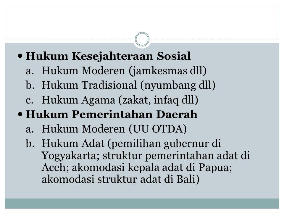 Hukum Kesejahteraan Sosial a.Hukum Moderen (jamkesmas dll) b.Hukum Tradisional (nyumbang dll) c.Hukum Agama (zakat, infaq dll) Hukum Pemerintahan Daerah a.Hukum Moderen (UU OTDA) b.Hukum Adat (pemilihan gubernur di Yogyakarta; struktur pemerintahan adat di Aceh; akomodasi kepala adat di Papua; akomodasi struktur adat di Bali)