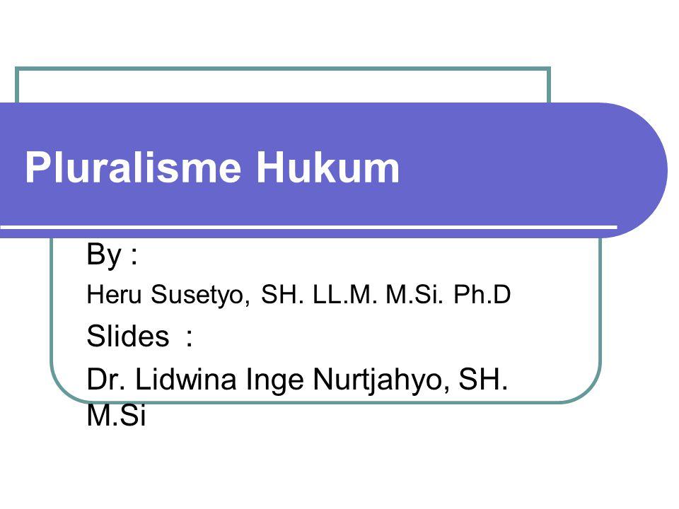 Pluralisme Hukum By : Heru Susetyo, SH. LL.M. M.Si. Ph.D Slides : Dr. Lidwina Inge Nurtjahyo, SH. M.Si