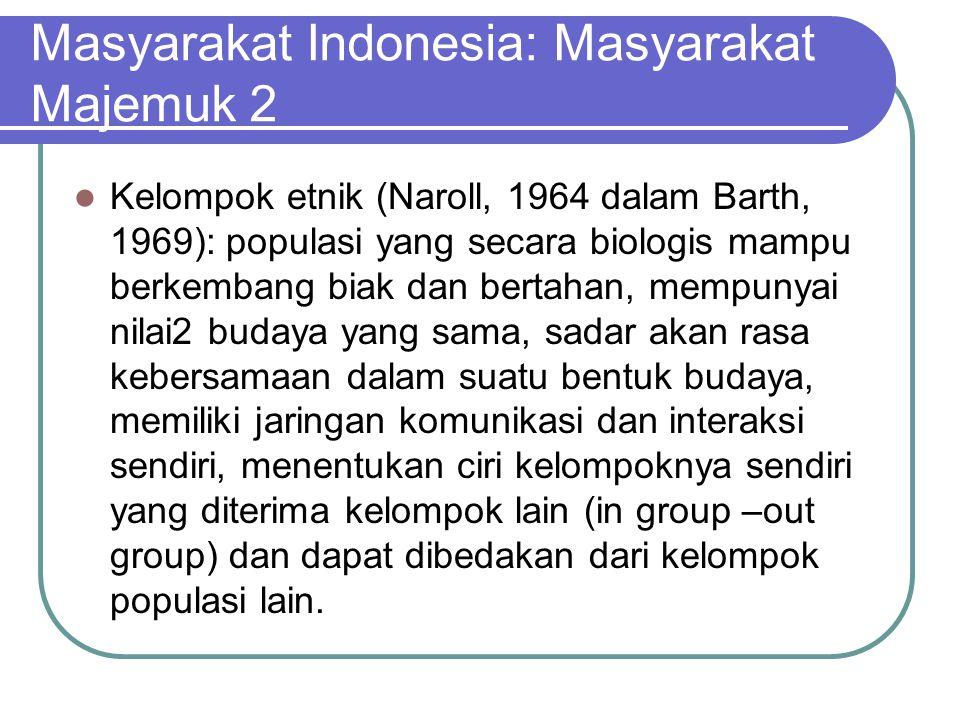 Masyarakat Indonesia: Masyarakat Majemuk 2 Kelompok etnik (Naroll, 1964 dalam Barth, 1969): populasi yang secara biologis mampu berkembang biak dan be