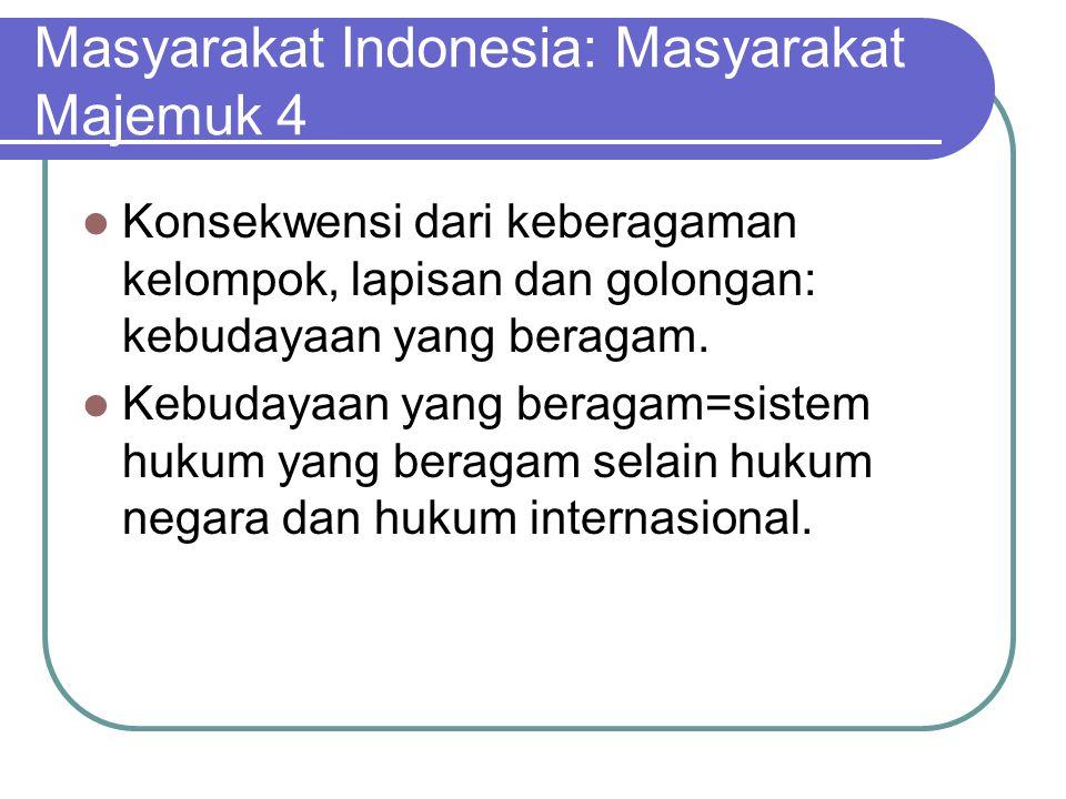 Masyarakat Indonesia: Masyarakat Majemuk 4 Konsekwensi dari keberagaman kelompok, lapisan dan golongan: kebudayaan yang beragam. Kebudayaan yang berag