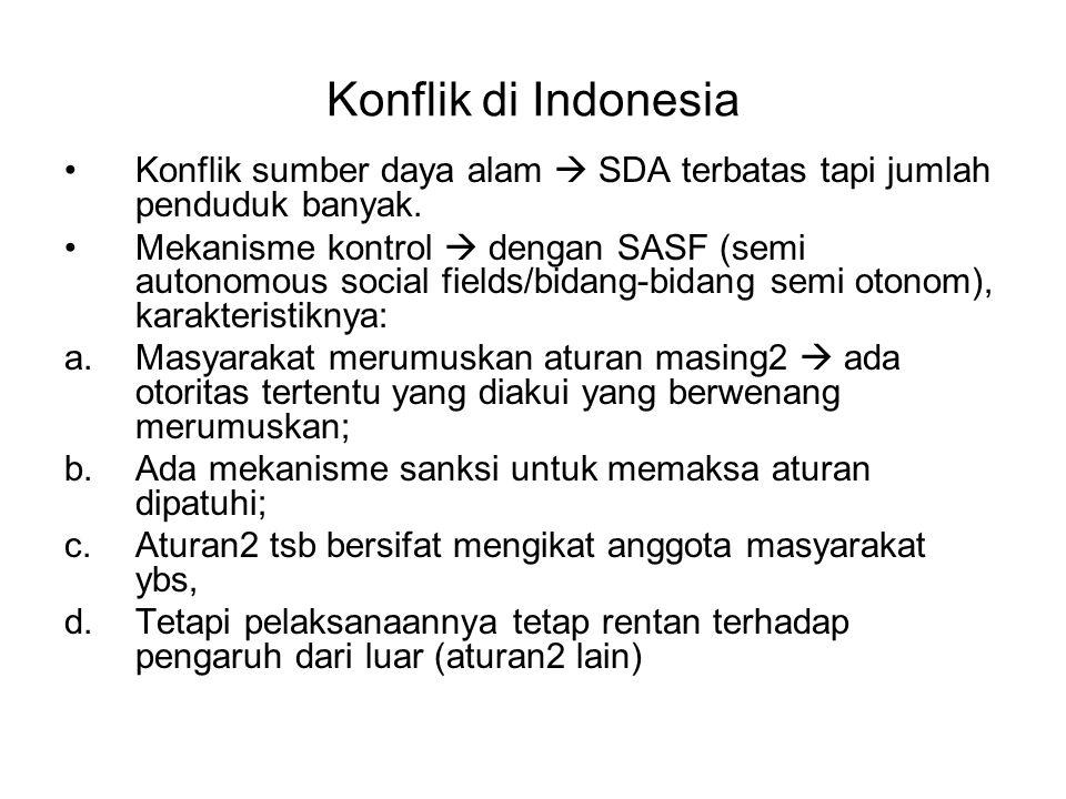 Konflik di Indonesia Konflik sumber daya alam  SDA terbatas tapi jumlah penduduk banyak. Mekanisme kontrol  dengan SASF (semi autonomous social fiel