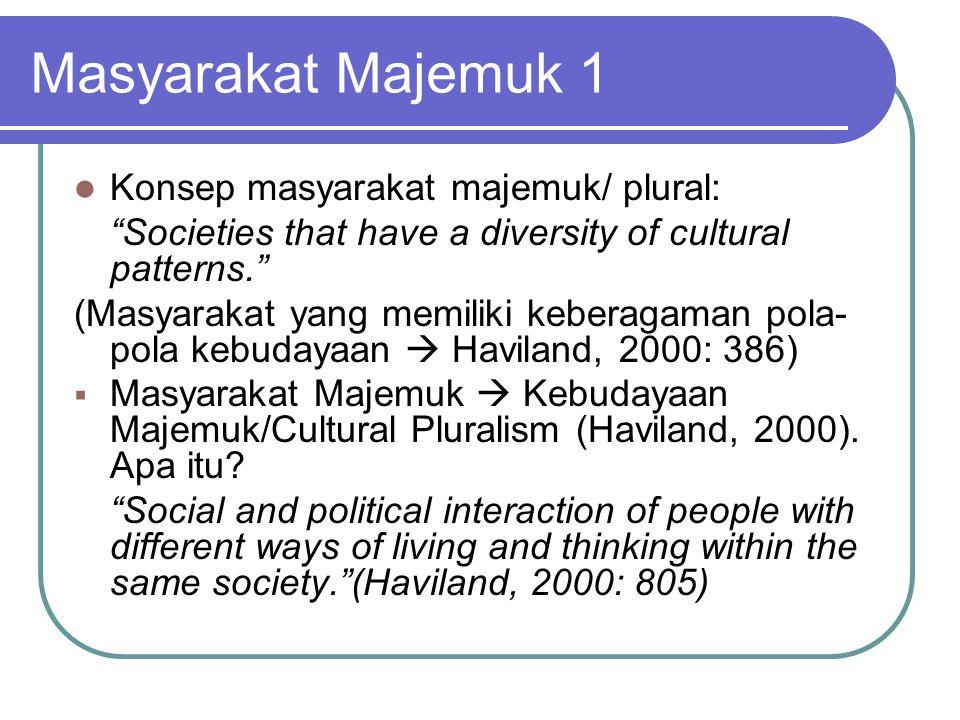 """Masyarakat Majemuk 1 Konsep masyarakat majemuk/ plural: """"Societies that have a diversity of cultural patterns."""" (Masyarakat yang memiliki keberagaman"""