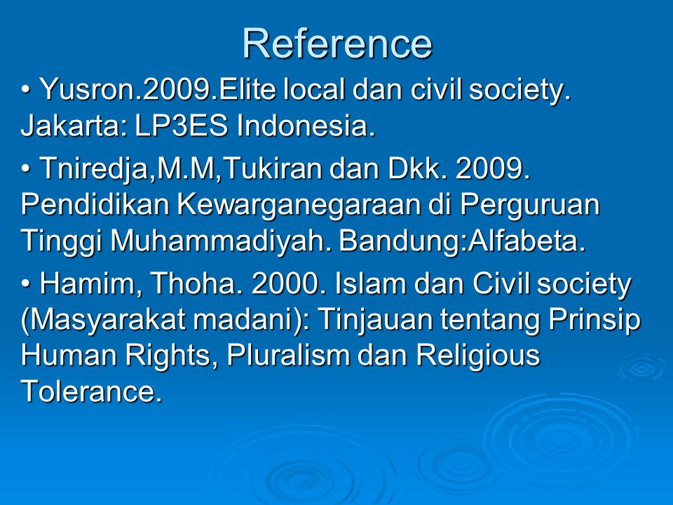 Reference Yusron.2009.Elite local dan civil society. Jakarta: LP3ES Indonesia. Yusron.2009.Elite local dan civil society. Jakarta: LP3ES Indonesia. Tn