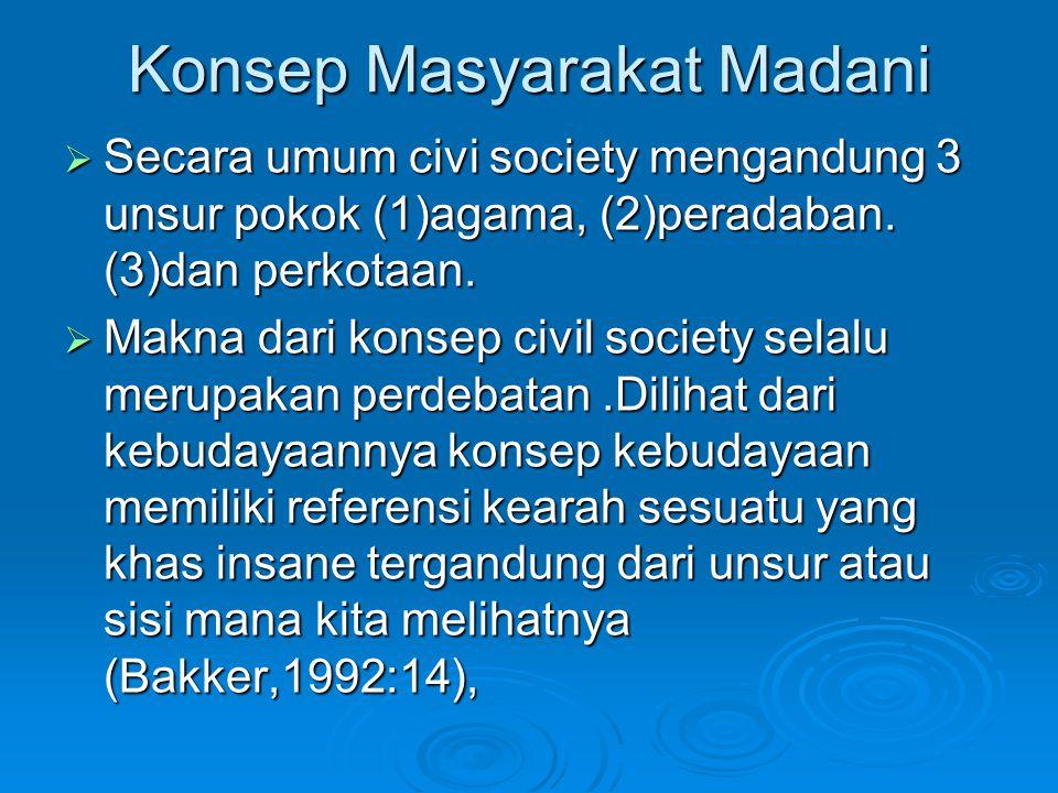 Konsep Masyarakat Madani  Secara umum civi society mengandung 3 unsur pokok (1)agama, (2)peradaban. (3)dan perkotaan.  Makna dari konsep civil socie