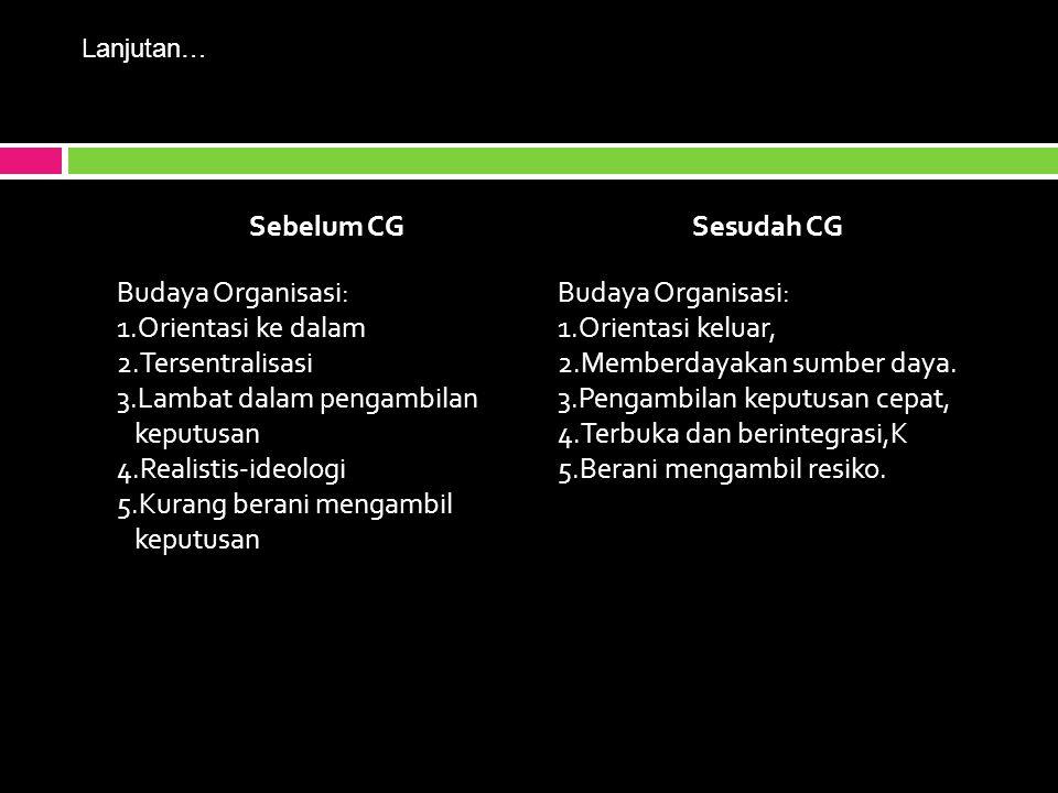 Sebelum CGSesudah CG Budaya Organisasi: 1.Orientasi ke dalam 2.Tersentralisasi 3.Lambat dalam pengambilan keputusan 4.Realistis-ideologi 5.Kurang berani mengambil keputusan Budaya Organisasi: 1.Orientasi keluar, 2.Memberdayakan sumber daya.