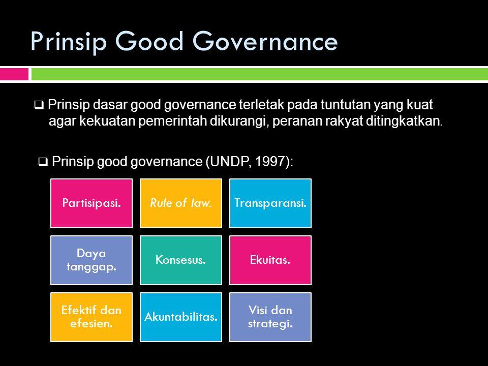 Prinsip Good Governance Partisipasi.Rule of law.Transparansi. Daya tanggap. Konsesus.Ekuitas. Efektif dan efesien. Akuntabilitas. Visi dan strategi. 