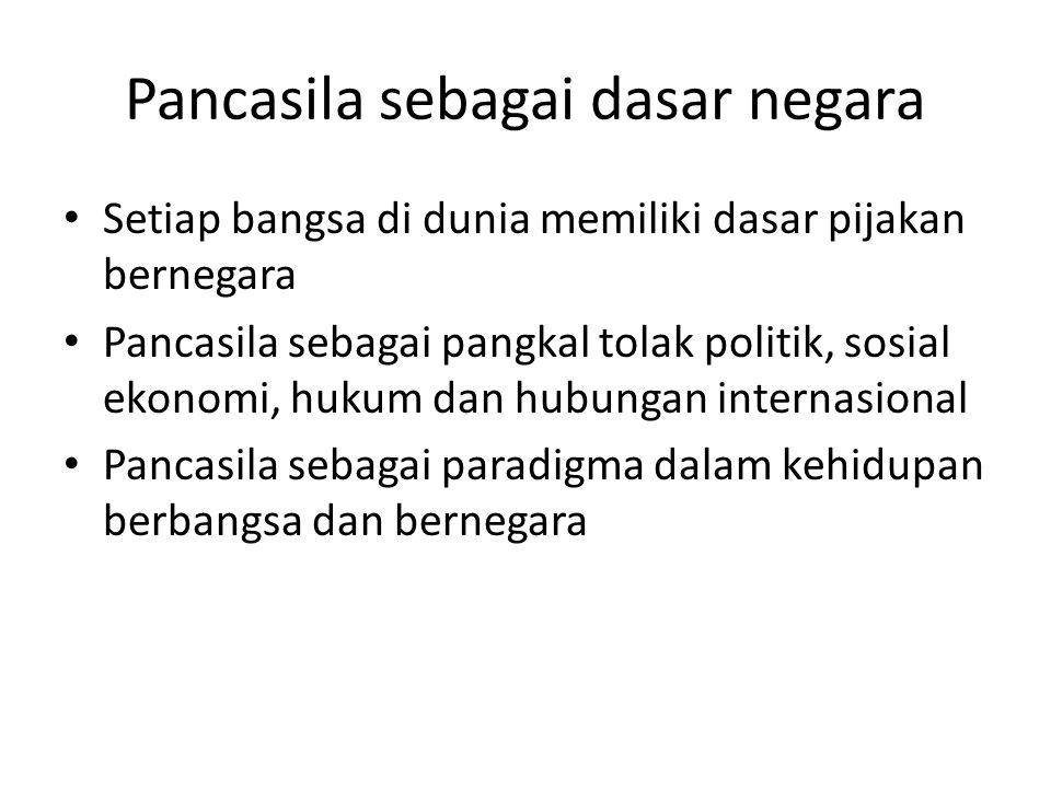 Pancasila sebagai dasar negara Setiap bangsa di dunia memiliki dasar pijakan bernegara Pancasila sebagai pangkal tolak politik, sosial ekonomi, hukum dan hubungan internasional Pancasila sebagai paradigma dalam kehidupan berbangsa dan bernegara
