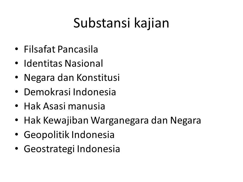 Substansi kajian Filsafat Pancasila Identitas Nasional Negara dan Konstitusi Demokrasi Indonesia Hak Asasi manusia Hak Kewajiban Warganegara dan Negar