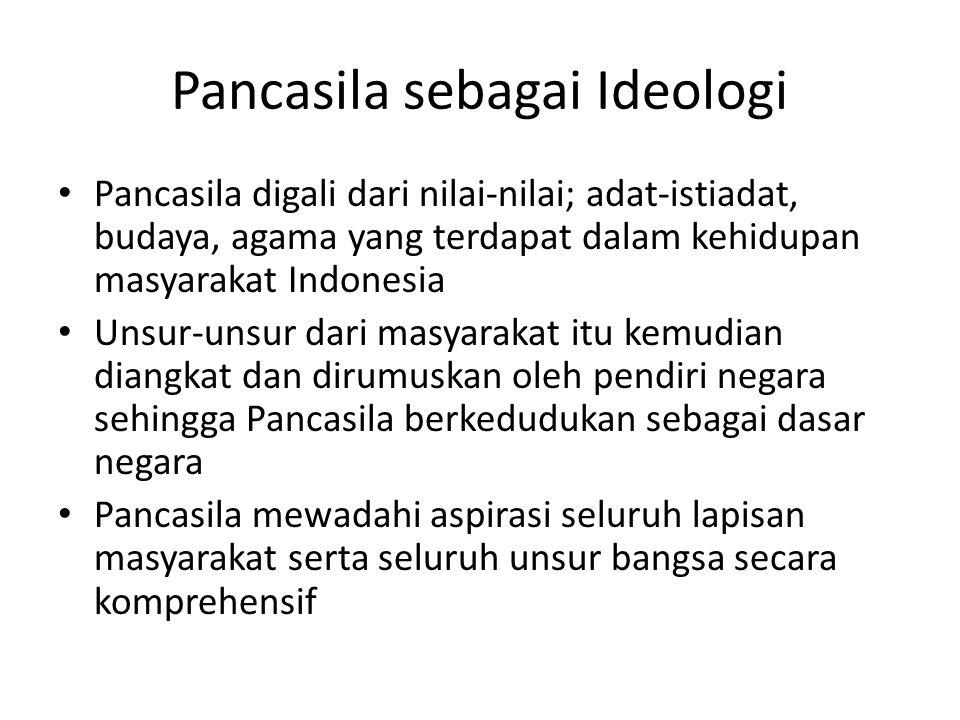 Pancasila sebagai Ideologi Pancasila digali dari nilai-nilai; adat-istiadat, budaya, agama yang terdapat dalam kehidupan masyarakat Indonesia Unsur-unsur dari masyarakat itu kemudian diangkat dan dirumuskan oleh pendiri negara sehingga Pancasila berkedudukan sebagai dasar negara Pancasila mewadahi aspirasi seluruh lapisan masyarakat serta seluruh unsur bangsa secara komprehensif