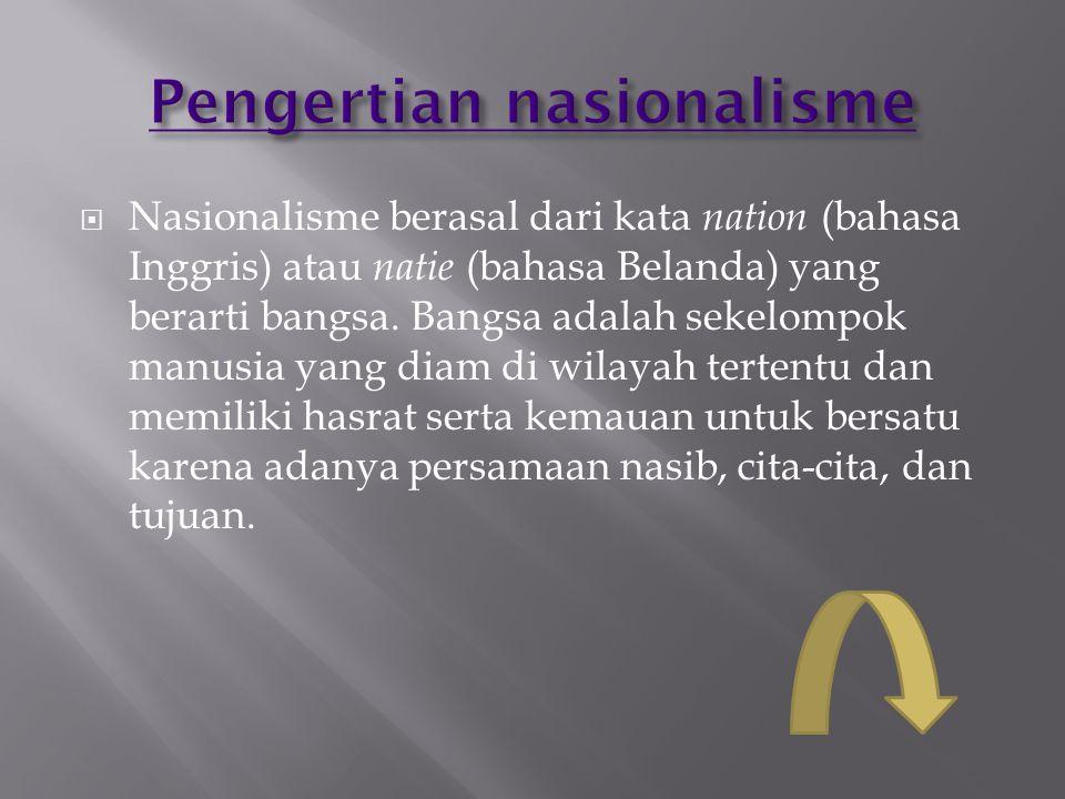  Nasionalisme berasal dari kata nation (bahasa Inggris) atau natie (bahasa Belanda) yang berarti bangsa. Bangsa adalah sekelompok manusia yang diam d