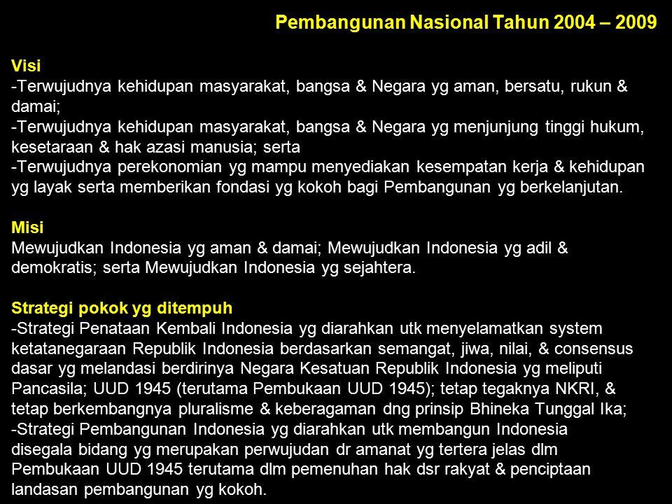 Pembangunan Nasional Tahun 2004 – 2009 Visi -Terwujudnya kehidupan masyarakat, bangsa & Negara yg aman, bersatu, rukun & damai; -Terwujudnya kehidupan