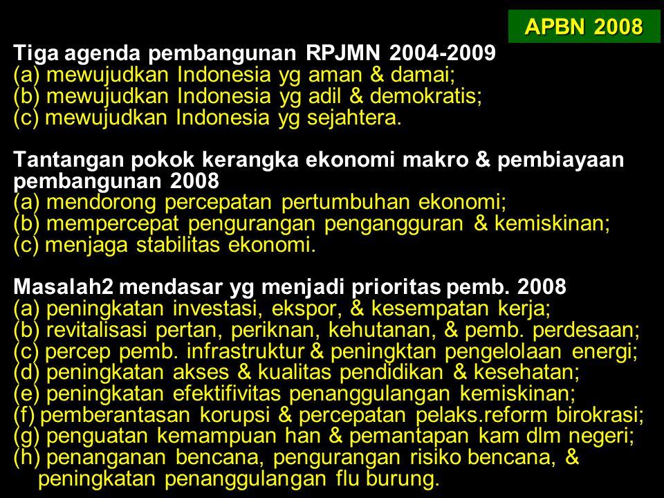 Tiga agenda pembangunan RPJMN 2004-2009 (a) mewujudkan Indonesia yg aman & damai; (b) mewujudkan Indonesia yg adil & demokratis; (c) mewujudkan Indone