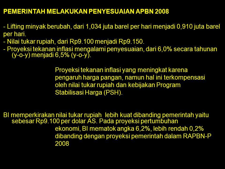 PEMERINTAH MELAKUKAN PENYESUAIAN APBN 2008 - Lifting minyak berubah, dari 1,034 juta barel per hari menjadi 0,910 juta barel per hari. - Nilai tukar r