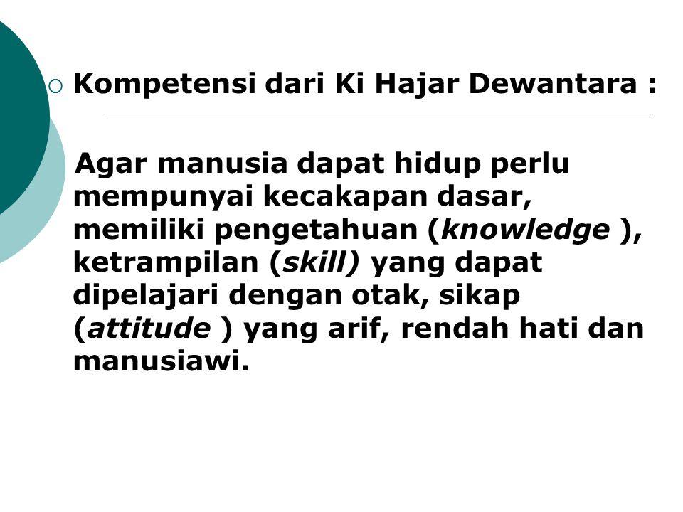  Kompetensi dari Ki Hajar Dewantara : Agar manusia dapat hidup perlu mempunyai kecakapan dasar, memiliki pengetahuan (knowledge ), ketrampilan (skill