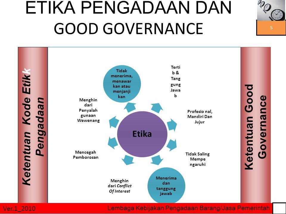 3/27/2015 ETIKA PENGADAAN DAN GOOD GOVERNANCE Ketentuan Kode Etikk Pengadaan Ketentuan Good Governance Etika Menghin dari Penyalah gunaan Wewenang Tid