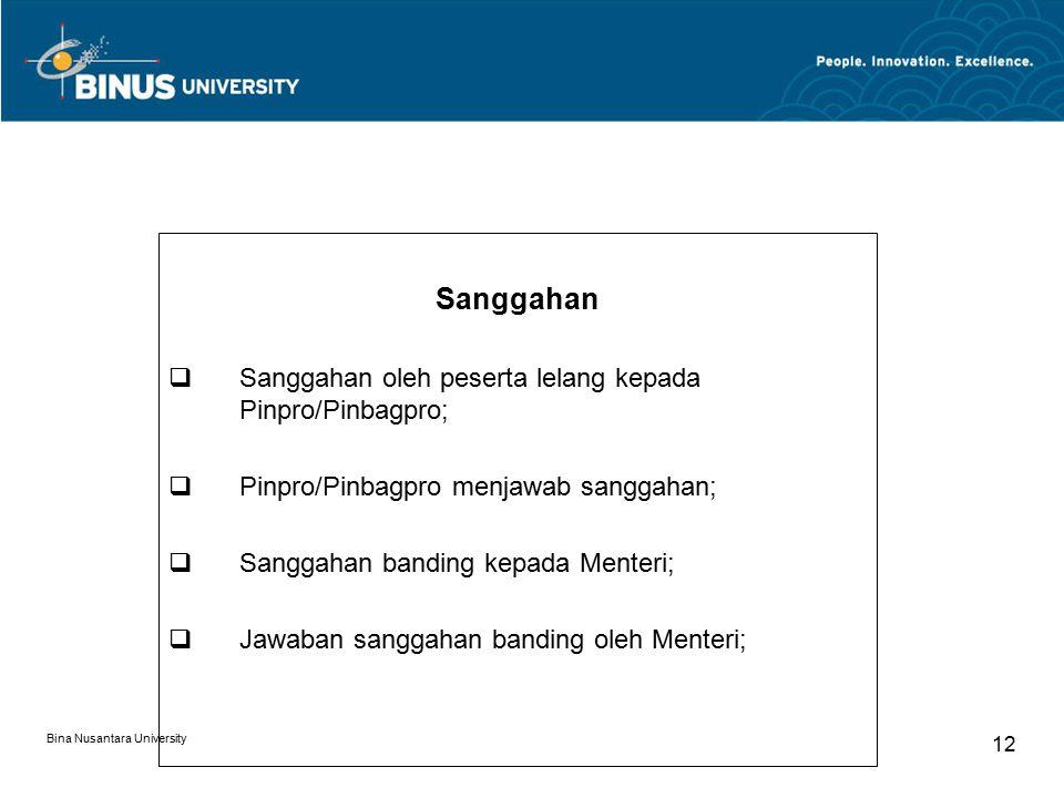 Bina Nusantara University 12 Sanggahan  Sanggahan oleh peserta lelang kepada Pinpro/Pinbagpro;  Pinpro/Pinbagpro menjawab sanggahan;  Sanggahan ban