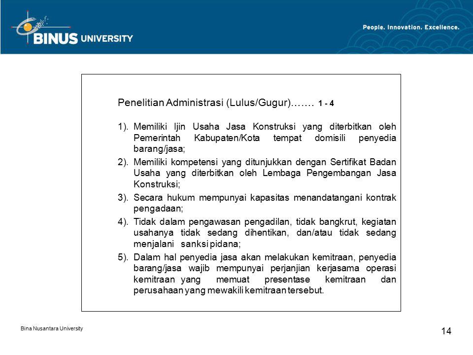 Bina Nusantara University 14 Penelitian Administrasi (Lulus/Gugur)……. 1 - 4 1).Memiliki Ijin Usaha Jasa Konstruksi yang diterbitkan oleh Pemerintah Ka
