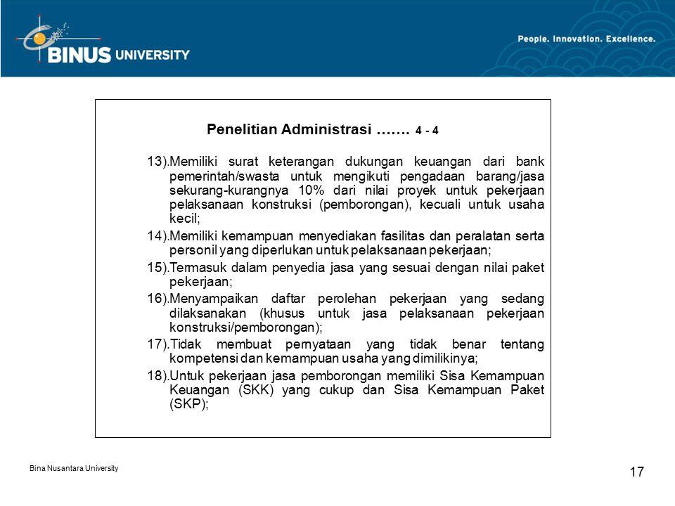 Bina Nusantara University 17 Penelitian Administrasi ……. 4 - 4 13).Memiliki surat keterangan dukungan keuangan dari bank pemerintah/swasta untuk mengi