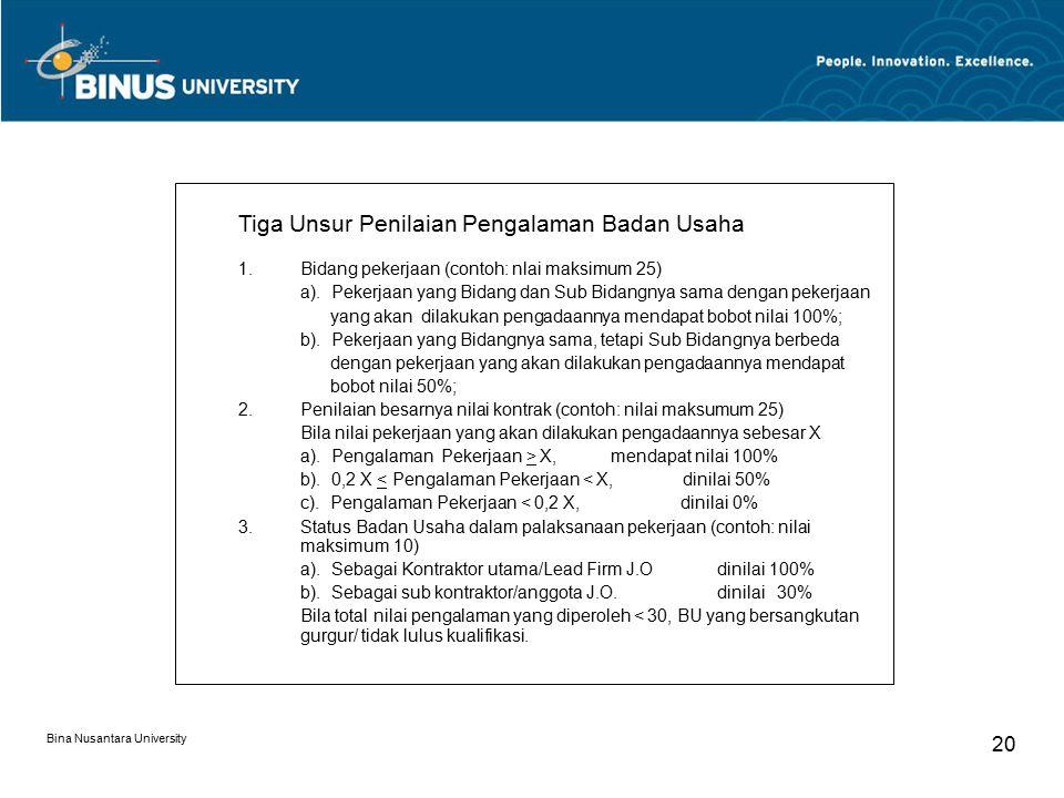Bina Nusantara University 20 Tiga Unsur Penilaian Pengalaman Badan Usaha 1.Bidang pekerjaan (contoh: nlai maksimum 25) a).