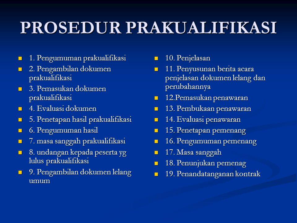 PROSEDUR PRAKUALIFIKASI 1. Pengumuman prakualifikasi 1. Pengumuman prakualifikasi 2. Pengambilan dokumen prakualifikasi 2. Pengambilan dokumen prakual
