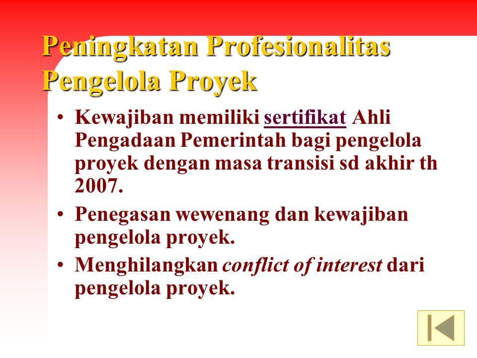 Peningkatan Profesionalitas Pengelola Proyek Kewajiban memiliki sertifikat Ahli Pengadaan Pemerintah bagi pengelola proyek dengan masa transisi sd akh
