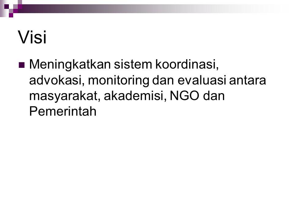 Visi Meningkatkan sistem koordinasi, advokasi, monitoring dan evaluasi antara masyarakat, akademisi, NGO dan Pemerintah