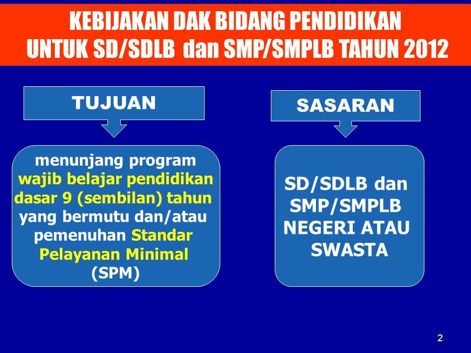 2 KEBIJAKAN DAK BIDANG PENDIDIKAN UNTUK SD/SDLB dan SMP/SMPLB TAHUN 2012 TUJUAN SASARAN menunjang program wajib belajar pendidikan dasar 9 (sembilan)