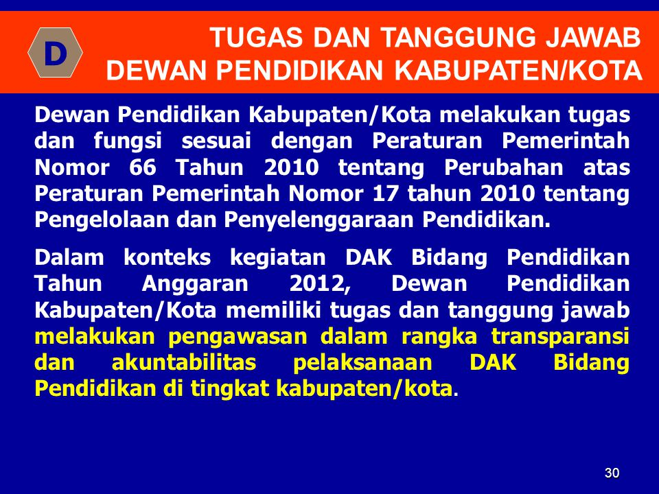 30 TUGAS DAN TANGGUNG JAWAB DEWAN PENDIDIKAN KABUPATEN/KOTA Dewan Pendidikan Kabupaten/Kota melakukan tugas dan fungsi sesuai dengan Peraturan Pemerin