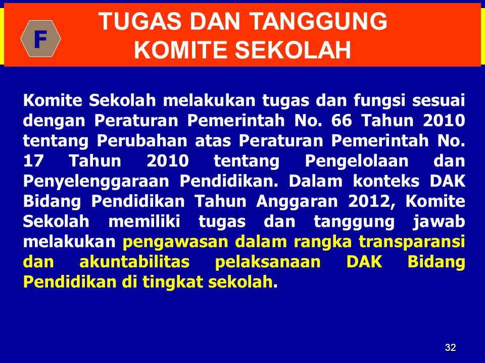 32 TUGAS DAN TANGGUNG KOMITE SEKOLAH Komite Sekolah melakukan tugas dan fungsi sesuai dengan Peraturan Pemerintah No. 66 Tahun 2010 tentang Perubahan
