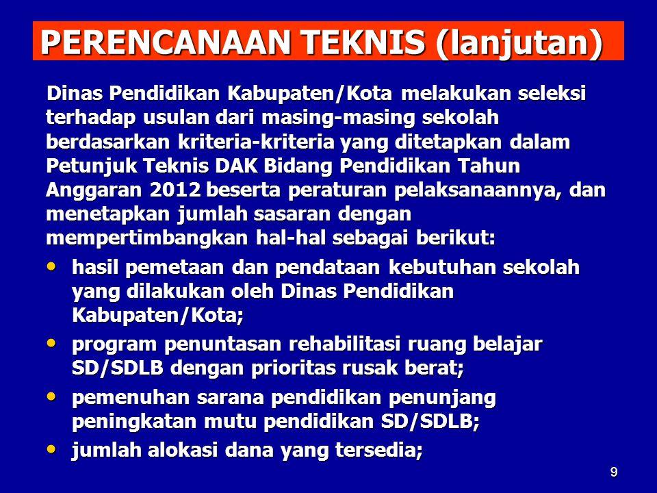 PERENCANAAN TEKNIS (lanjutan) Dinas Pendidikan Kabupaten/Kota melakukan seleksi terhadap usulan dari masing-masing sekolah berdasarkan kriteria-kriter