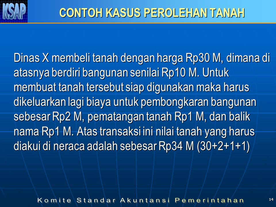 14 CONTOH KASUS PEROLEHAN TANAH Dinas X membeli tanah dengan harga Rp30 M, dimana di atasnya berdiri bangunan senilai Rp10 M. Untuk membuat tanah ters