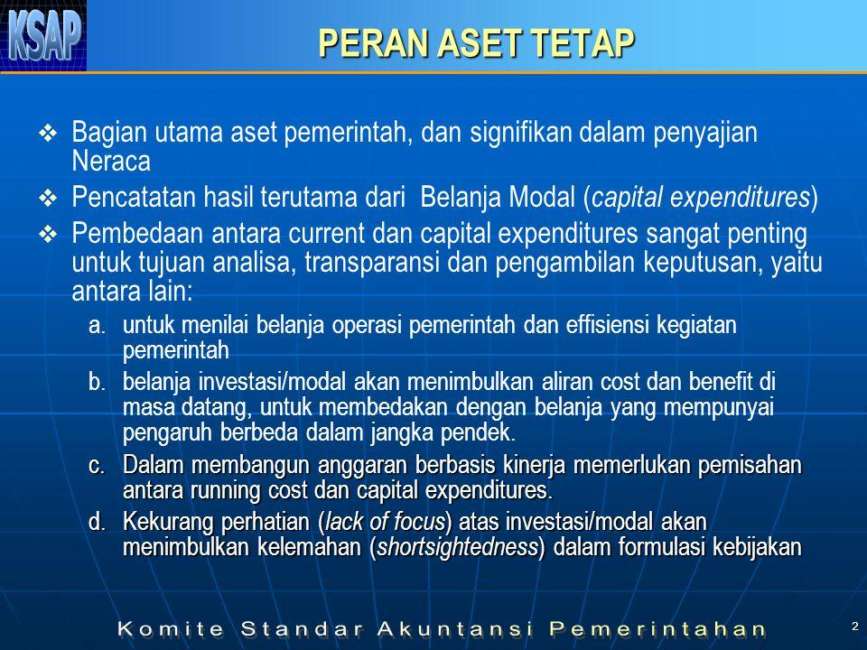 2 PERAN ASET TETAP   Bagian utama aset pemerintah, dan signifikan dalam penyajian Neraca   Pencatatan hasil terutama dari Belanja Modal ( capital