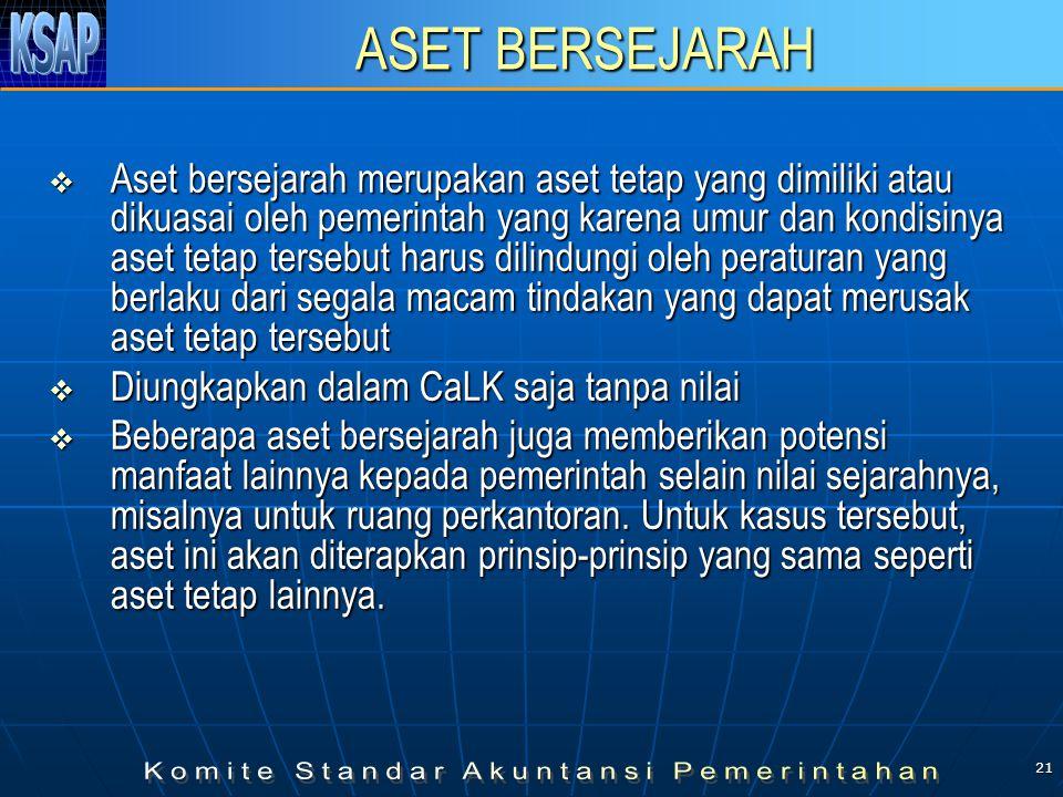 21 ASET BERSEJARAH  Aset bersejarah merupakan aset tetap yang dimiliki atau dikuasai oleh pemerintah yang karena umur dan kondisinya aset tetap terse