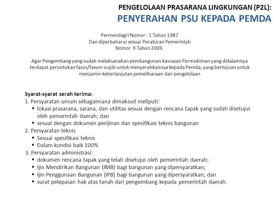 Permendagri Nomor : 1 Tahun 1987 Dan diperbaharui sesuai Peraturan Pemerintah Nomor 9 Tahun 2009. Agar Pengembang yang sudah melaksanakan pembangunan