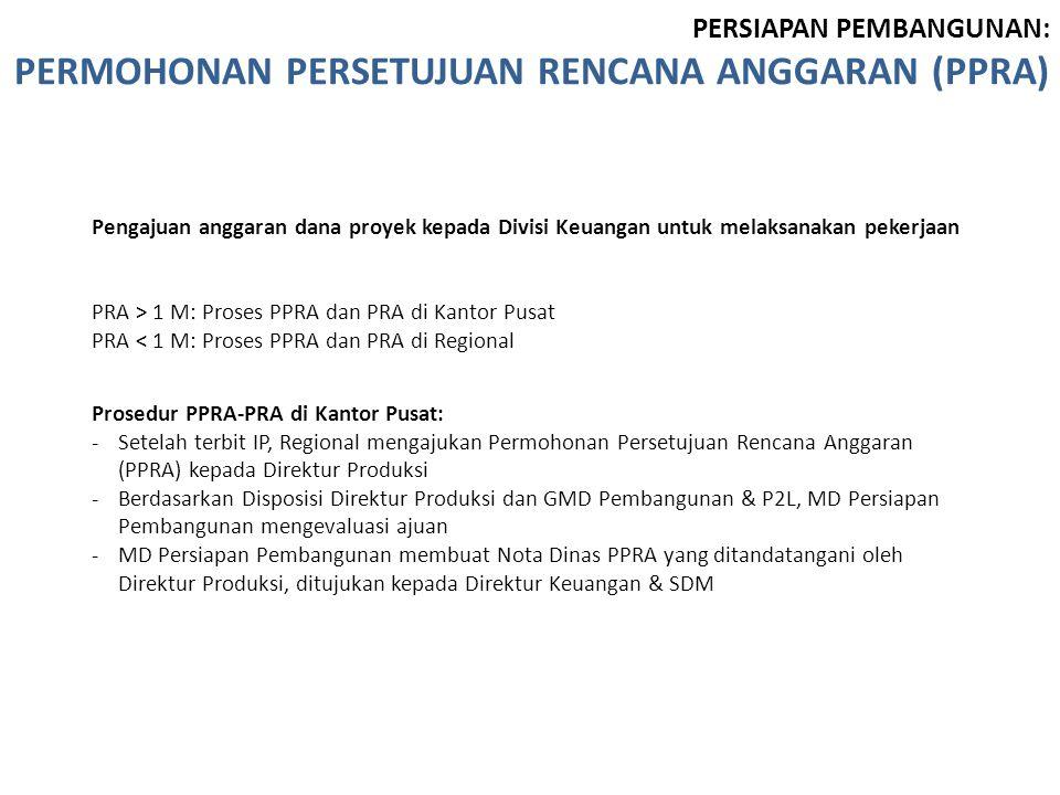 Prosedur PPRA-PRA di Kantor Pusat: -Setelah terbit IP, Regional mengajukan Permohonan Persetujuan Rencana Anggaran (PPRA) kepada Direktur Produksi -Be