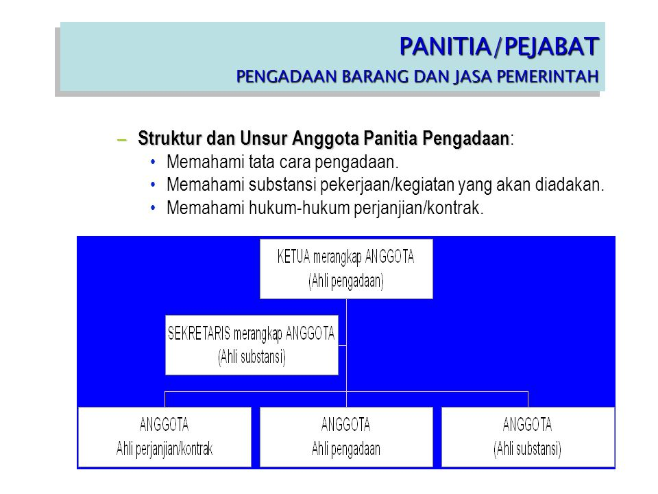 – Struktur dan Unsur Anggota Panitia Pengadaan – Struktur dan Unsur Anggota Panitia Pengadaan : Memahami tata cara pengadaan. Memahami substansi peker